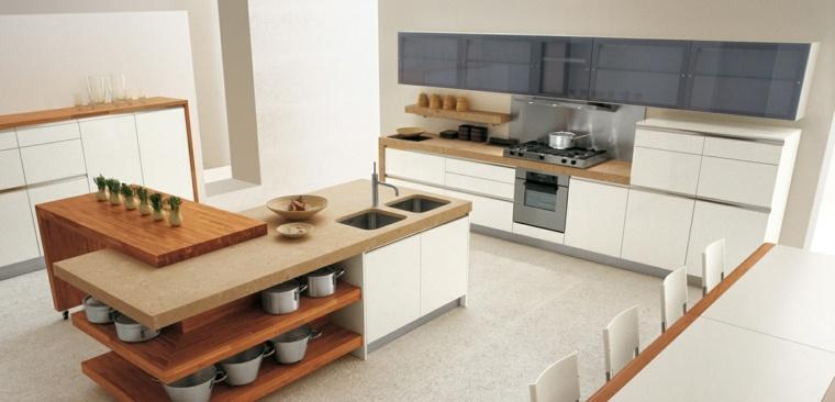 cocina isla abierta estantes blanca ideas
