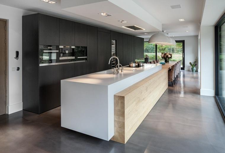 cocina isla blanca toques madera ideas