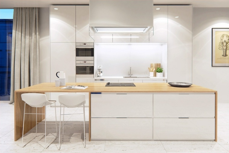 Cocinas con isla 50 ideas de muebles blancos o de madera for Encimeras de madera para cocinas