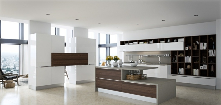 Cocinas con isla 50 ideas de muebles blancos o de madera for Diseno isla cocina