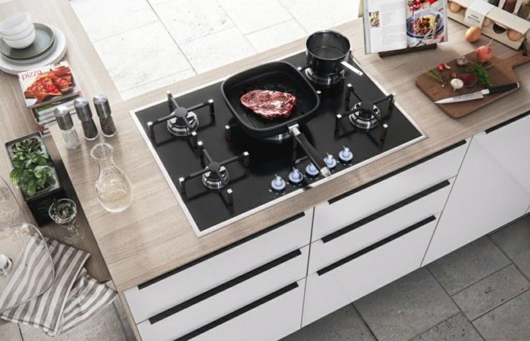 cocina isla encimeras madera blanco combinacion ideas