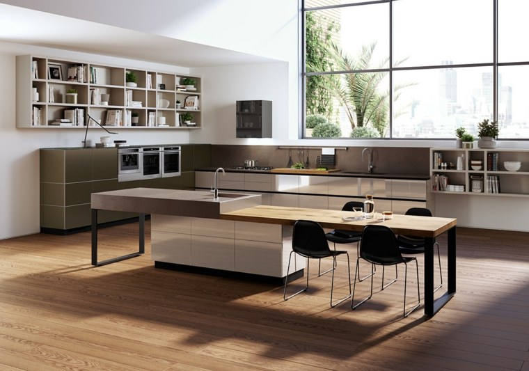 cocina isla estantes luminosa madera ideas