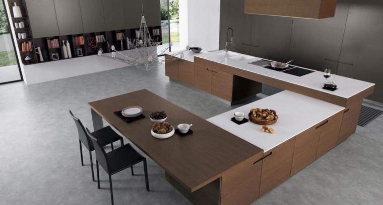 Cocinas con isla 50 ideas de muebles blancos o de madera for Cocinas en forma de u con isla