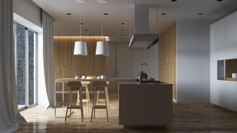 cocina isla lampras blancas bonitas ideas