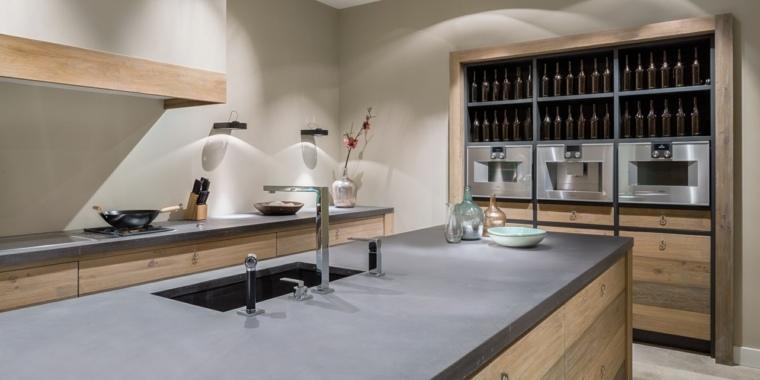 Cocinas con isla 50 ideas de muebles blancos o de madera - Cocina encimera madera ...