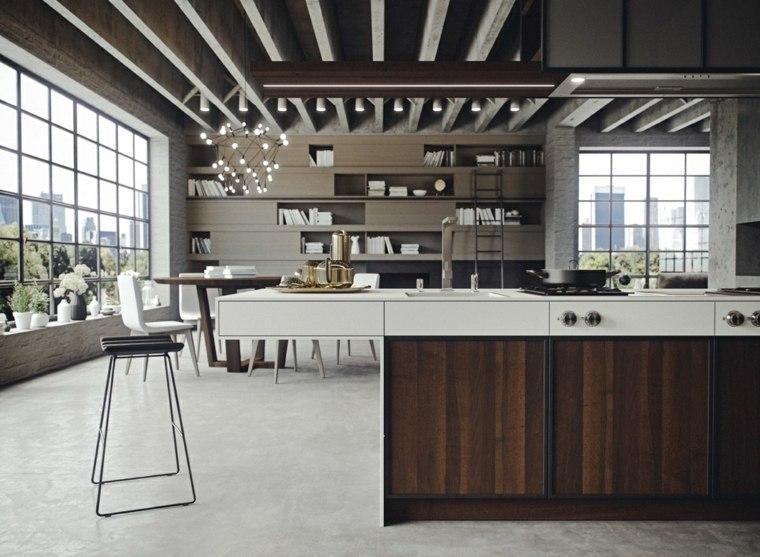 cocina isla madera oscura estilo sofisticado ideas