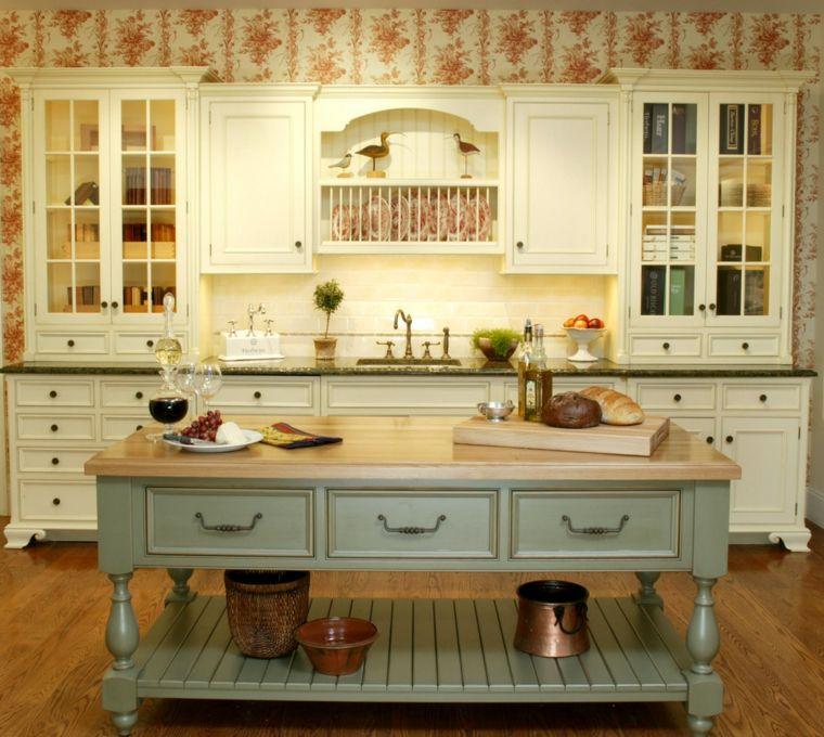 Muebles Madera Cocina. Cocina Muebles Madera Beige Isla Pequena ...