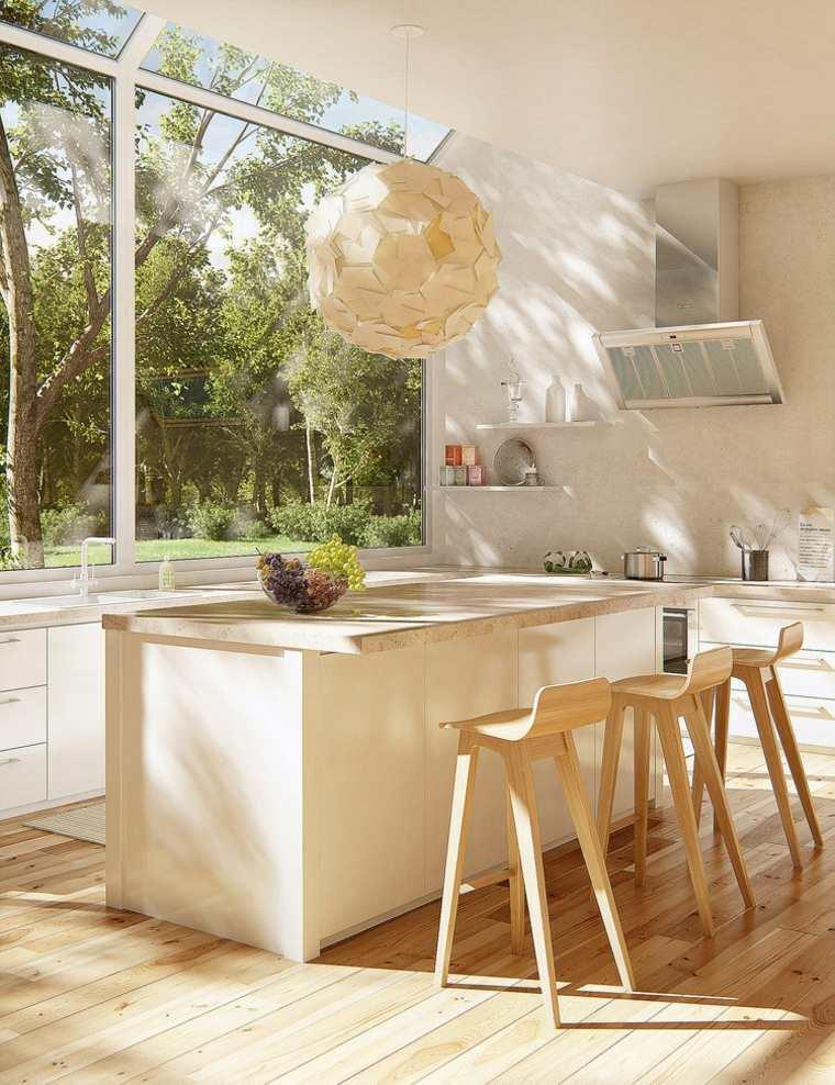 Cocinas con isla 50 ideas de muebles blancos o de madera for Taburetes de madera