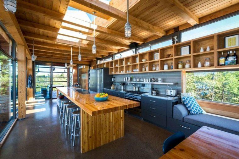 cocina luminosa isla garnde madera ideas