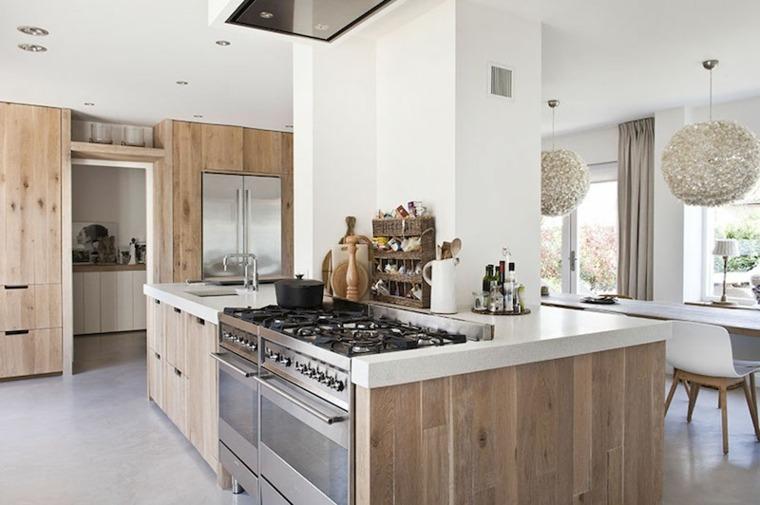 Maderas rusticas para decorar interiores 38 ideas - Alicatar cocina detras muebles ...
