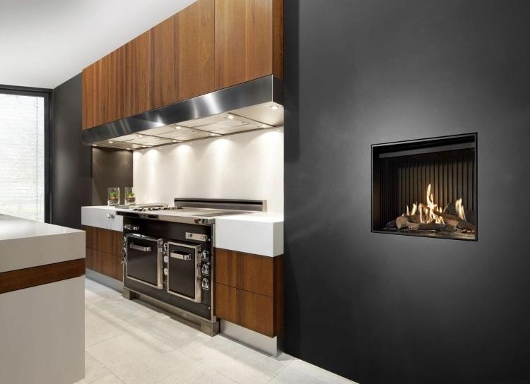 cocina moderna chimenea pared obra