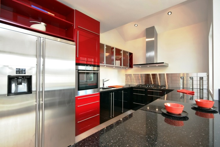 cocina moderna mueble color rojo