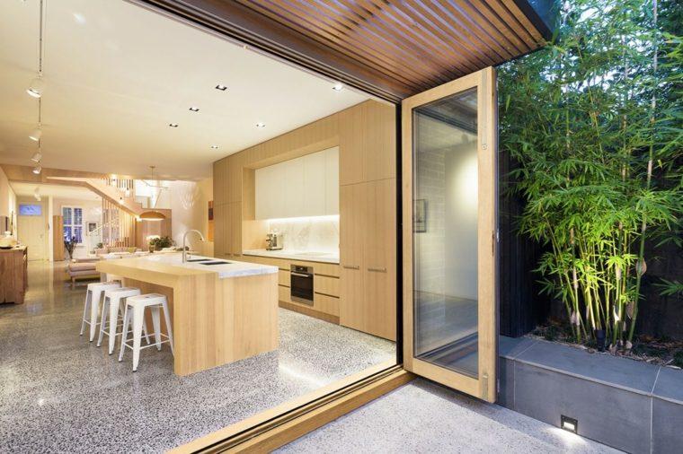 cocina muebles isla madera encimera marmol ideas