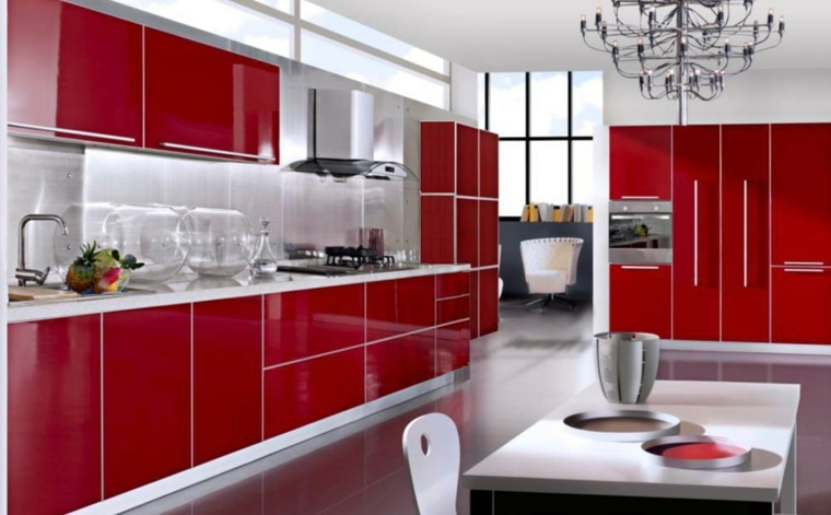 cocina muebles rojos acabado lacados