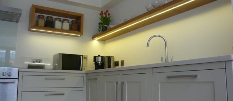 cocina obra luces led muebles