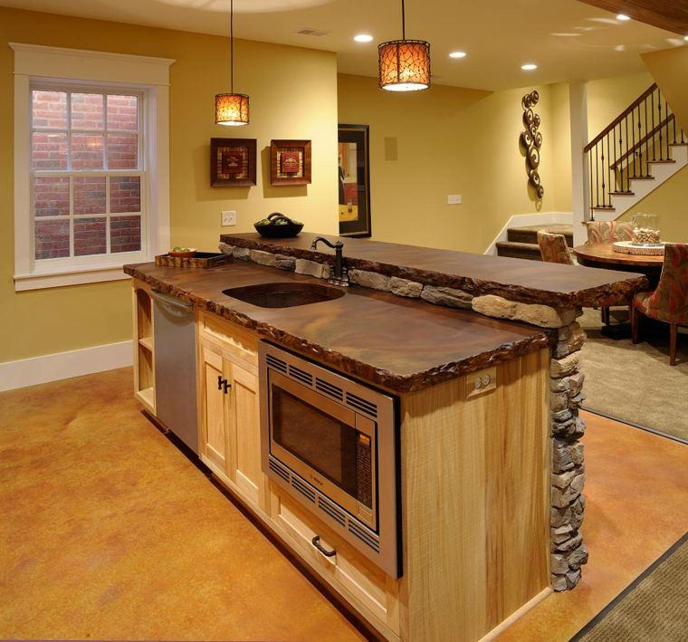 cocina obra tarima isla madera