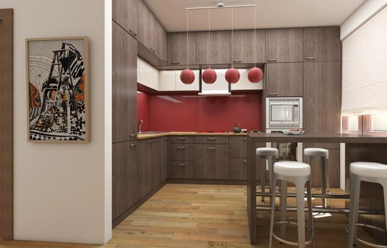 cocina pequena barra pared roja ideas