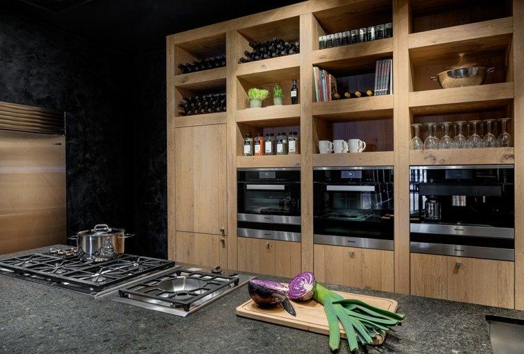 cocina preciosa armarios madera puertas cristal ideas