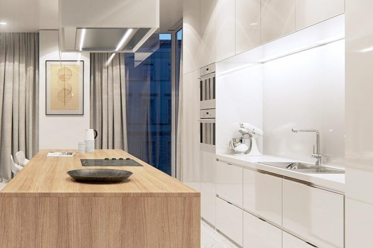 cocina preciosa isla madera armarios blancos ideas