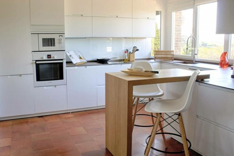 Cocinas con barra americana 35 dise os de lujo for Barra cocina madera