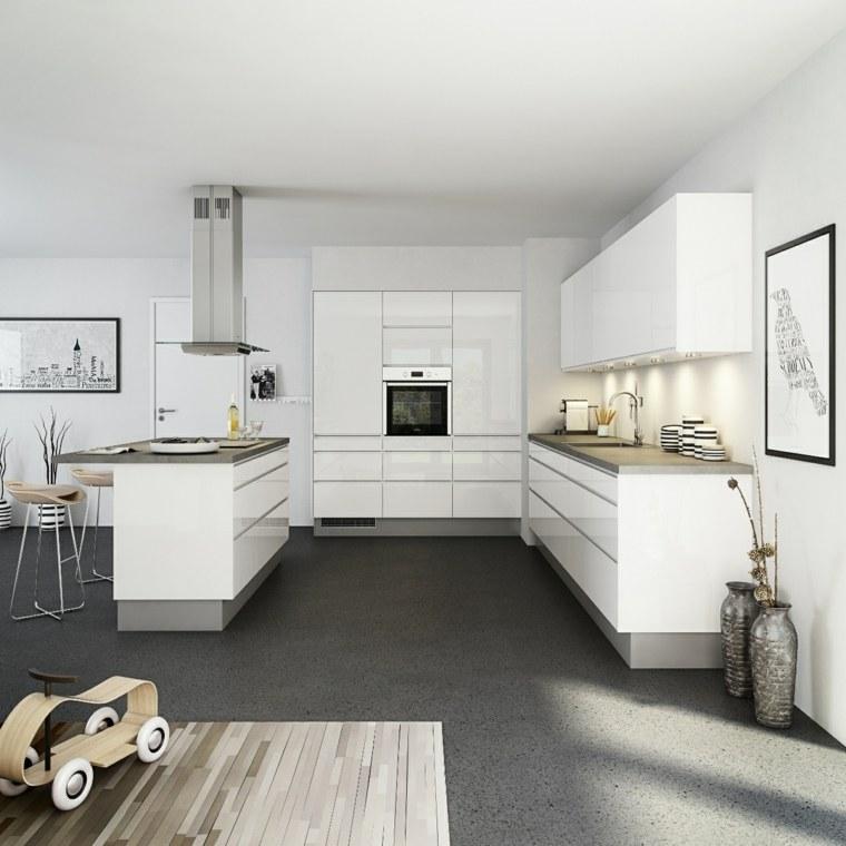 cocinas barra muebles blancos originales ideas