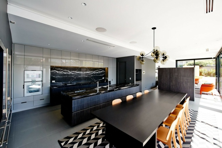 cocinas bonitas amplias muebles negros ideas