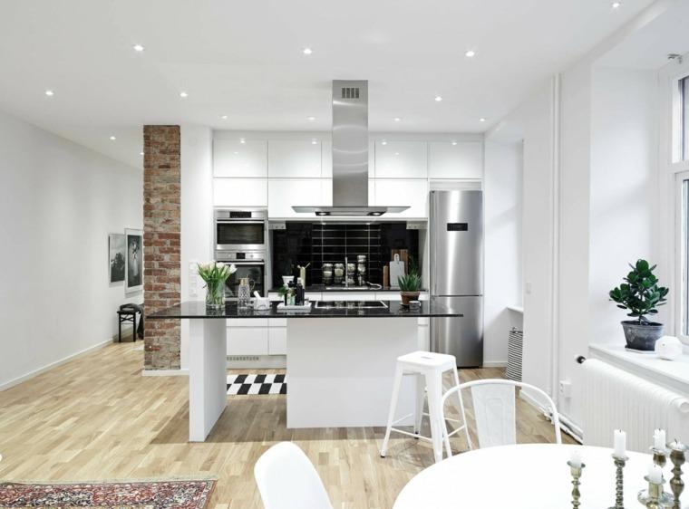 cocinas bonitas blancas abiertas isla ideas