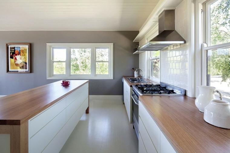 cocinas bonitas blancas encimeras madera ideas