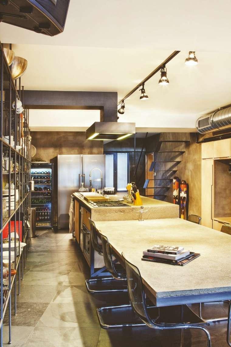 cocinas bonitas diseno industrial mesa madera ideas