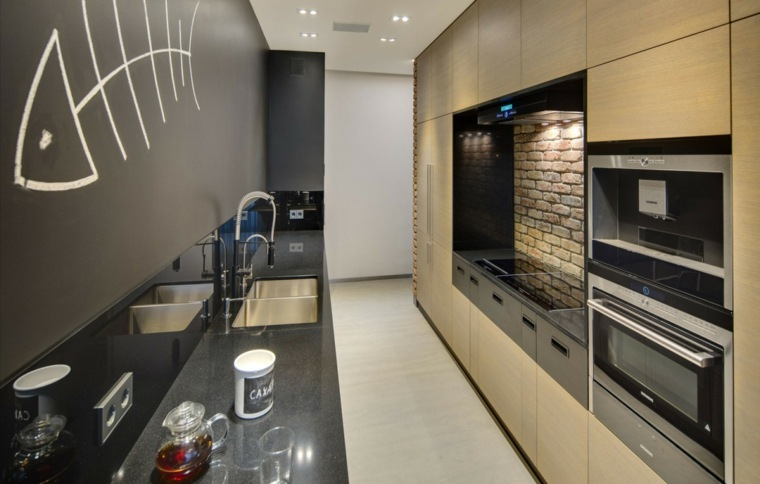 cocina bonita estrechas pared estampa ideas