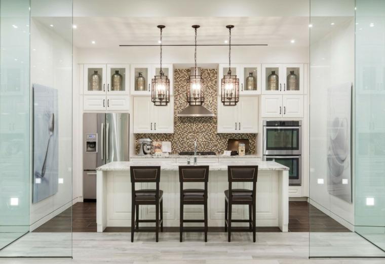 cocina bonita isla blanca opciones espacios amplio ideas