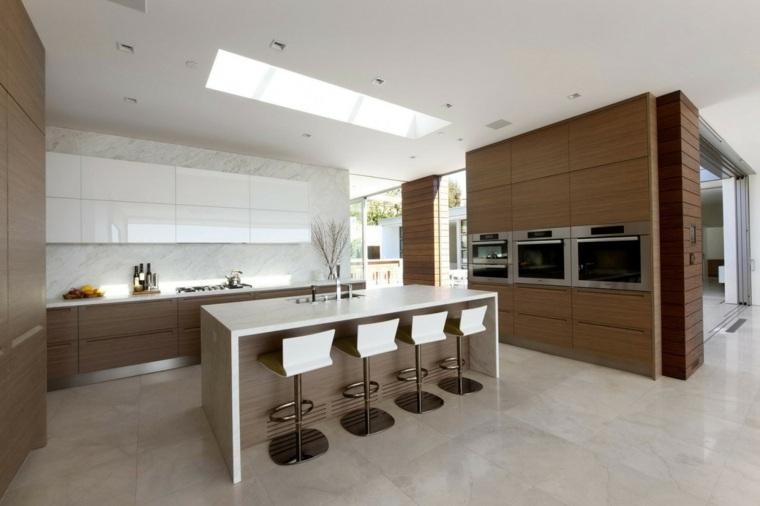 cocina bonita muebles beige isla Ehrlich Architects ideas
