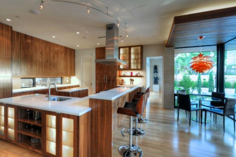 cocina bonita muebles madera lacada ideas