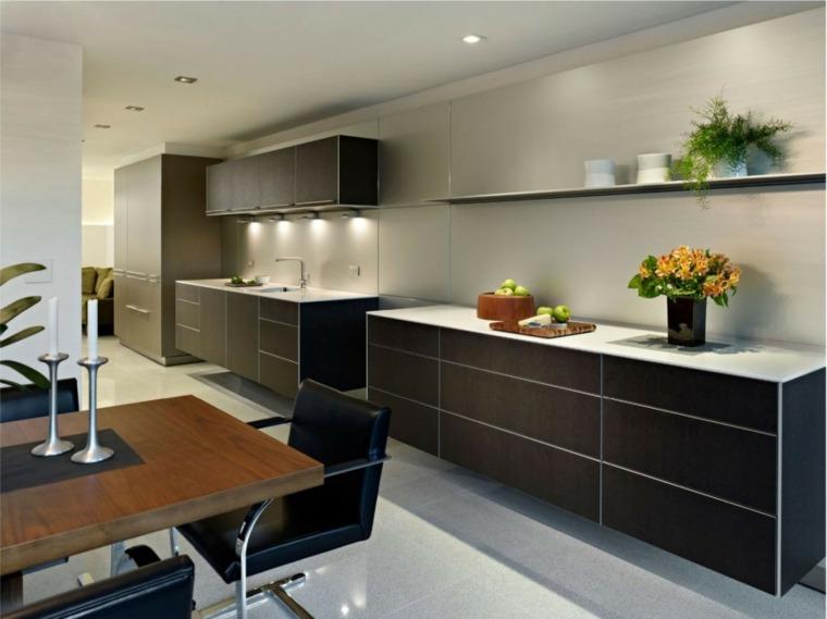 cocina bonita muebles negros estante ideas