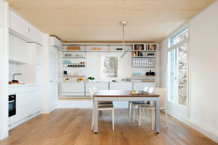 cocina bonita suelo madera muebles blancos ideas