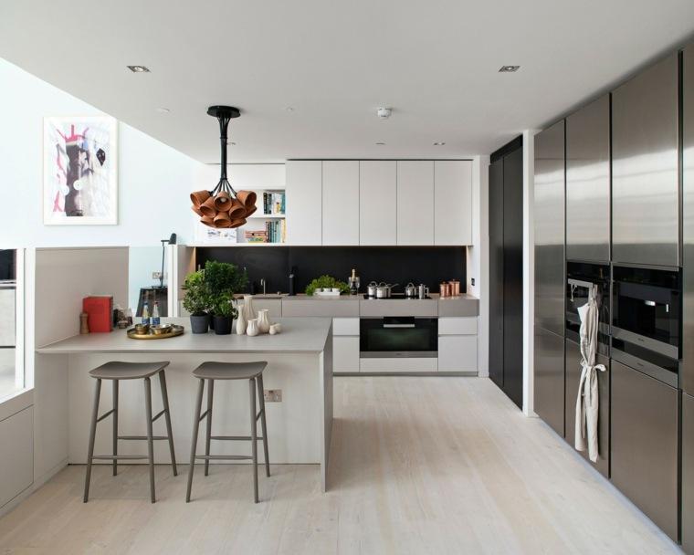 cocina bonita taburetes altos armarios blancos ideas