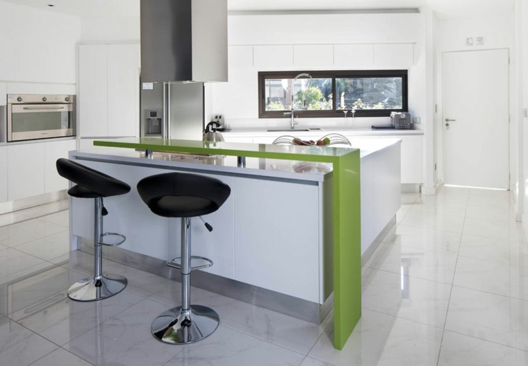 cocinas barra americana color verde ideas