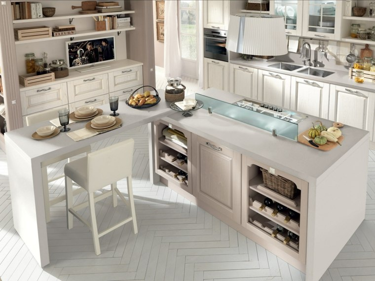 cocinas con barra americana diseno clasico blanco ideas