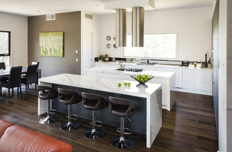 cocinas con barra americana encimeras marmol ideas