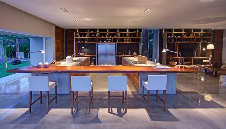 cocinas con barra americana entre dos islas ideas