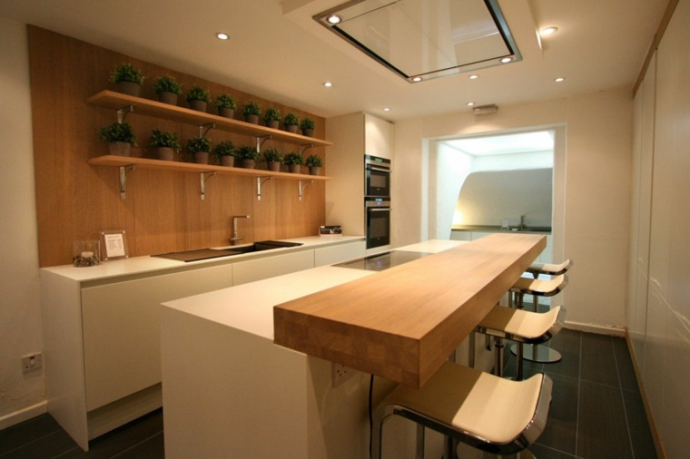 cocinas con barra americana estanterias pared ideas