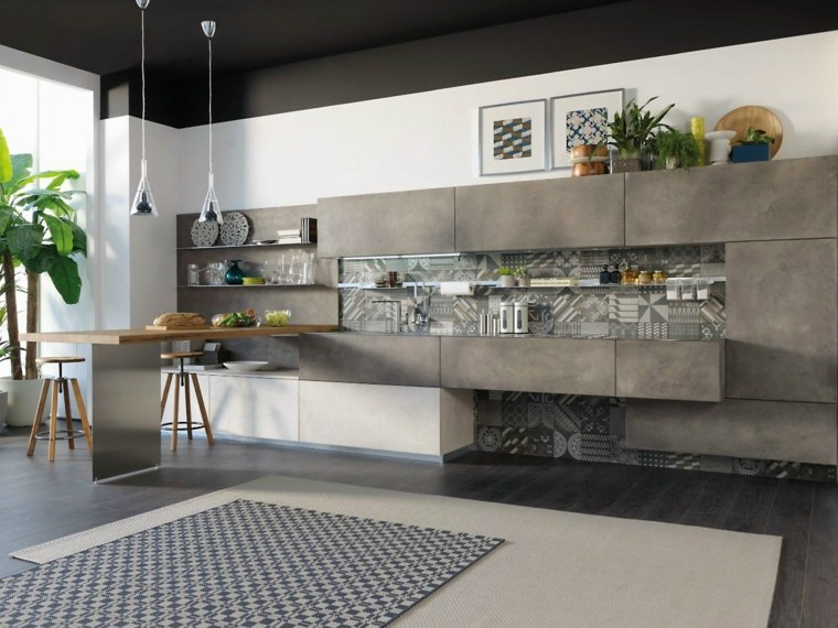 cocinas barra americana madera color gris ideas