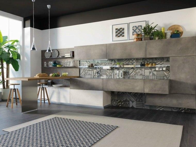 cocinas barra americana madera color gris ideas
