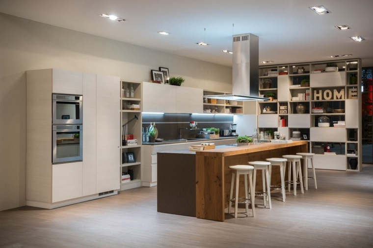 cocinas barra americana madera natural ideas