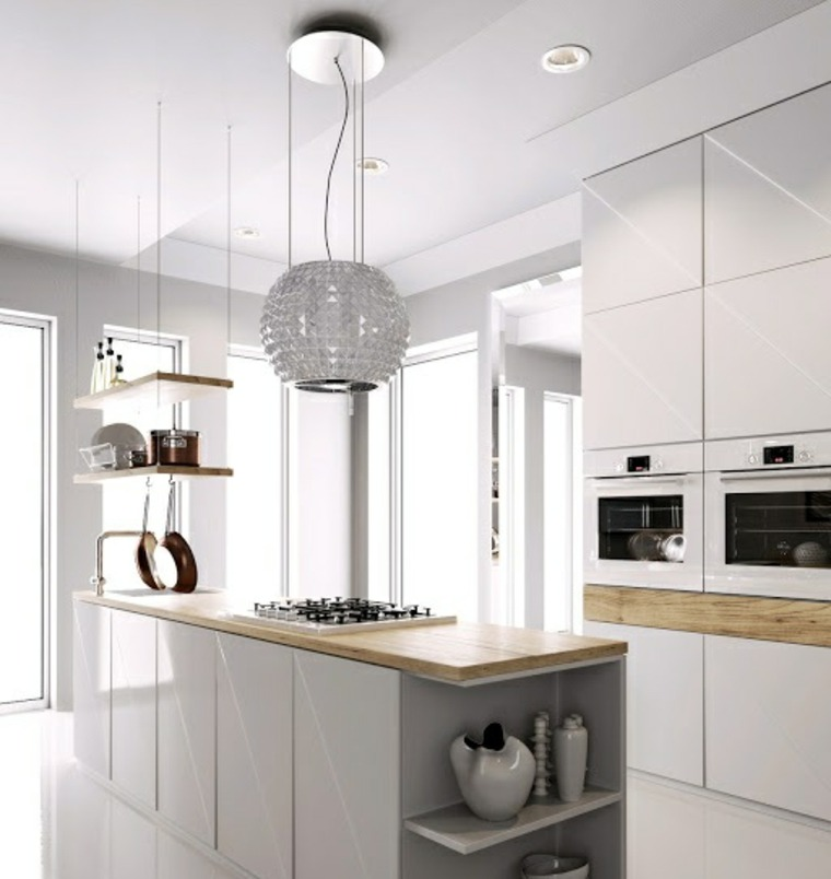 cocinas con isla estantes encimera madera ideas