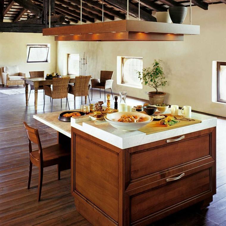 Cocinas con isla 50 ideas de muebles blancos o de madera - Isla cocina pequena ...