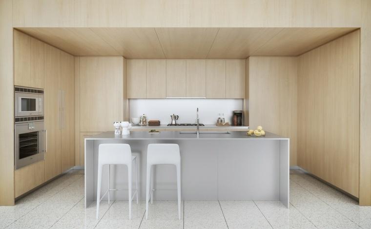cocinas con isla grande armarios madera pared blanca ideas