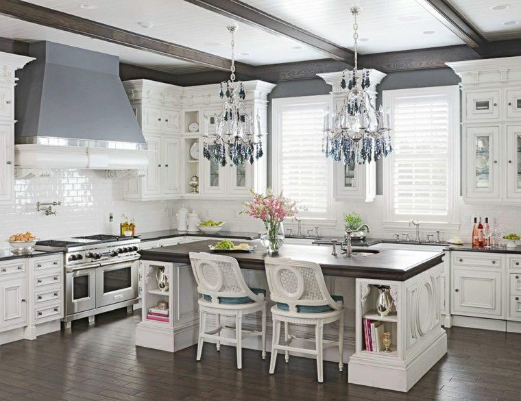 Cocinas con isla 50 ideas de muebles blancos o de madera for Cocinas bonitas blancas