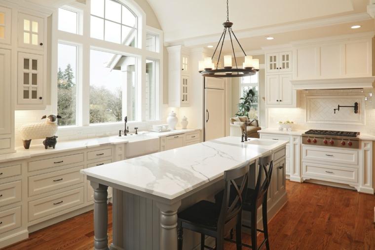 cocinas isla madera gris armarios blancos ideas