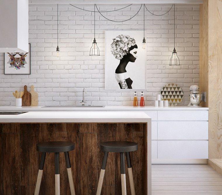 cocinas isla madera ladrillo blanco ideas